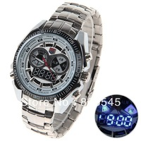 Fashion TVG KM-468 Digital Sports LED Watch with Double Movt Round Dial Steel Watchband for Men military wrist watches