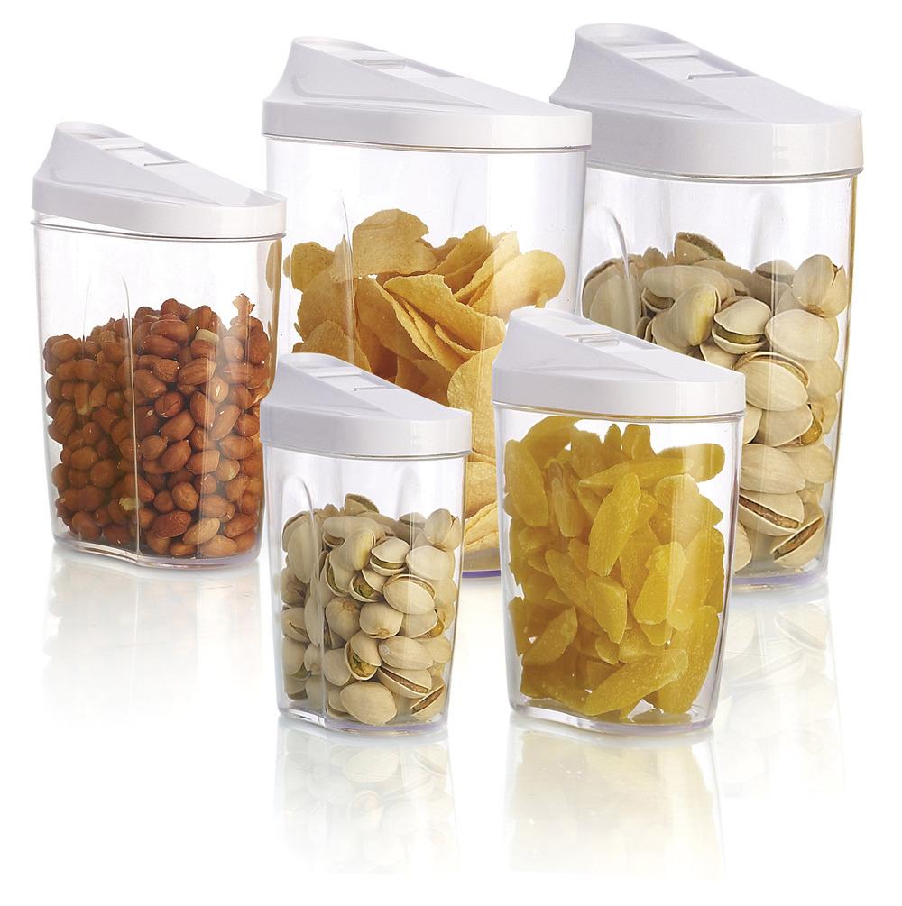 5pcs de cozinha como uma caixa de armazenamento de cozinha de plástico garrafa frasco dos doces, recipiente transparente com tampa, recipientes domésticos para armazenamento de alimentos(China (Mainland))