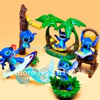 Free shipping 10sets/lot High Quality Lovely Stitch PVC Figures, Stitch PVC Home Decoration (5pcs/set)
