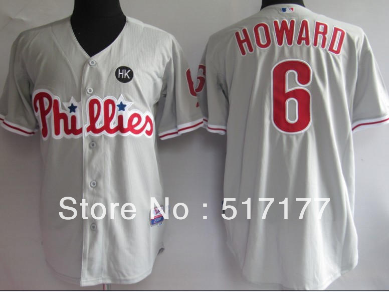 Free Shipping Cheap Wholesale Baseball Jerseys # 6 Howard Grey Sports Mens Baseball Jerseys Embroidery logos Size:M-3XL(China (Mainland))