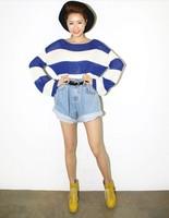 Fashion vintage sty nda high waist denim shorts roll-up hem loose plus size shorts