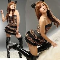 Wholesale Free Shipping Sexy temptation cat women's leopard print one piece skirt one-piece dress ultra-short set