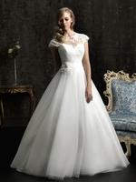 Hot New Online 2013 Cap Lace Sleeve Fancy A-line Princess Lady Wedding Dresses