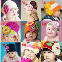 Retail Baby Crochet Hat Child Crochet Flower Hat Kids Crochet Caps Baby Hand Knitted Spring Beanie 2pc SGM-0010