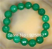 """Natural 12mm Faceted Green jade Round Beads Bracelet 7.5""""Fashion jewelry"""