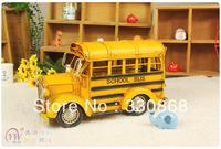 Event props Handmade iron sheet model bus school bus retro antique finishing crafts home decoration