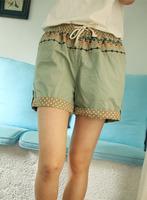 2013 fresh embroidery dot lace cotton cloth drawstring elastic waist shorts female mid