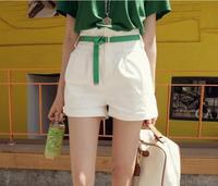 Sty nda loose plus size high waist roll-up hem white shorts culottes