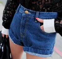 Sty nda vintage plus size casual roll-up hem high waist denim shorts