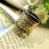 Fashion vintage accessories lucky letter brief lettering promise ring finger ring female