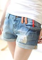 2013 new  women's hem hole water wash wearing white sweet polka dot patchwork denim shorts