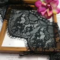 3 yds!!! 5.9'' (15CM ) LT078 Handmade DIY Decorative High Quality Soft Off White Black Eyelash Lace Trim