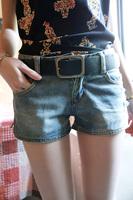 Cass summer new arrival female rivet strap classic side zipper all-match denim shorts t45