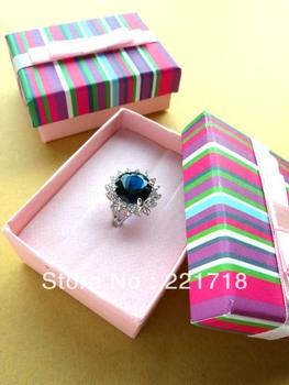 Wholesale 6.6cm*5cm*2.5cm Stripe Multi-color Mini Jewelry Packaging Gift Box for Earrings/Rings/Pendants 10Pcs/Lot Free Shipping