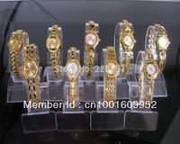 free shipping 10pcs/lot Gift Hot Brand New Mixed Bulk 10PCS beautiful Gold bracelet watches Lady girls Women Quartz Wristwatches