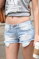 Summer women's loose casual pants denim shorts hole shorts wearing white shorts female