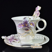 2013 Fashion European Enamel Cixuan gold iris coffee cup and saucer bone china cup set