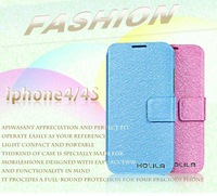 Free shipping,50pcs/lot  Leather flip case  for iphone4 4s