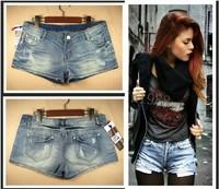 Free shipping New 2014 Spring and Summer Women hot pants Women Girls Denim Shorts Light Blue Flange Hole Wash White Jeans 2175