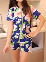 2013 silky fabric short-sleeve coat sportswear set female summer fashion