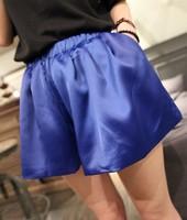 Mumu2013 spring fashion brief elegant solid color silk quality elastic waist female shorts