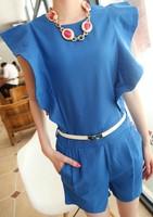 2013 summer all-match elegant ruffled pleated sleeve pleated slim waist jumpsuit female jumpsuit