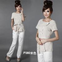 Fashion summer short sleeve beige beautician shirt  with elegant sashes for ladies beauty salon uniform