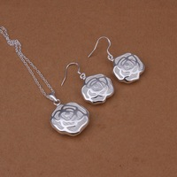 wholesale 925 silver jewelry sets pendant necklace/ Earrings  for lover fashion jewelries free shipping