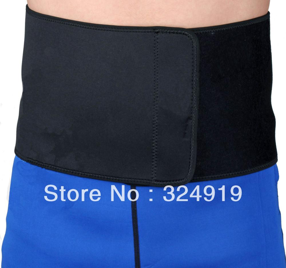 Free shipping Neoprene slimming lumbar belt wide waist fitness back support hip wrap abdominal binder univerdsal black+2pcs(China (Mainland))