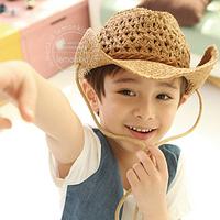Free shipping  Cowboy fashion beach sun travel baby children's straw hat
