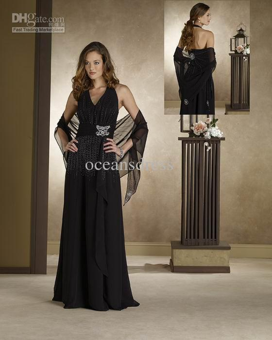 2011 Chiffon Column Halter Floor Length Beading Black Mother Of The Bride/Groom Dresses Evening Gown(China (Mainland))