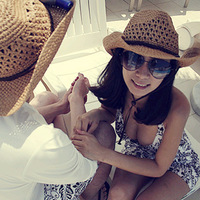 Free shipping  Cowboy large eaves shading beach hats for men and women lovers bask in a straw hat