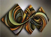Free shipping hand-painted Huge Wall Art Modern  abstract oil painting canvas4pcs/set