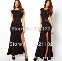 D065 Free Shipping Plus Size Charming Sexy Round Neck Short Sleeve Transparent Lace Back Slit Maxi Dress Black