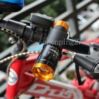 Gold Head Bike Bicycle Front Light CREE Q5 Flashlight 240 Lumens Torch + Clip