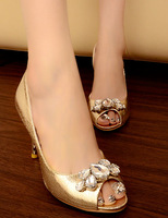 Ladies high-heeled single shoes open toe shoe big rhinestone shallow mouth thin heels female shoes gold wedding shoes