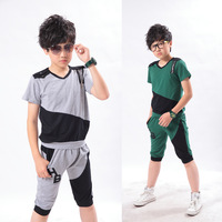 Teenage sports clothing male child pants short-sleeve 2013 child summer twinset