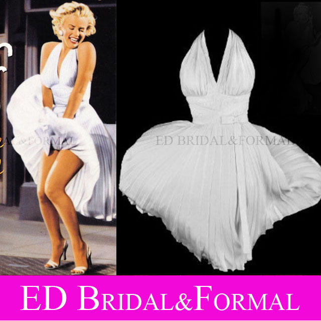 White Marilyn Monroe Halter Dress in The Seven Year Itch Movie(China (Mainland))
