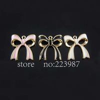 Free shipping 30pcs Jewelry Findings  Alloy drop oil craft Three color bowknot pendant charms