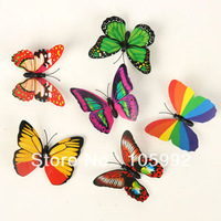 100 Pcs/lot 7X5cm Colorful Three-dimensional Simulation Butterfly Magnet Fridge Home Decoration