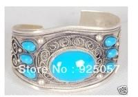 Excellent Handicraft Tibet Silver Inlay Turquoise adjustable Bracelet Fashion jewelry