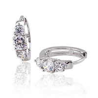 Women's Angel's Wings Style Platinum Plated & 1.48 CT Brilliant Cut Grade AAA Cubic Zircon Diamond Hoop Earring (0510)