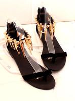 13 summer fashion handsome rivet flip sandals cowhide flat