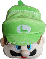 FreeShipping New Cute Green Super Mario Brother Kids Children 3D Plush School Bags Backpack