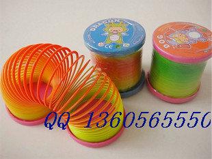 Free Shipping Wholesale Plastic spring toy rainbow circle spring ring elastic ring toy(China (Mainland))