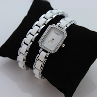 Small watches luxury rhinestone Women table square dial ceramic watchband shell surface long colnmnaris ladies watch
