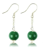 Green agate earrings 925 pure silver drop earring natural crystal female long design accessories