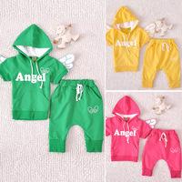 2013 wholesale autumn angel wings 2 pcs boy girl clothes suit(Hoodie+pants),Children Suit 3 color 5 set/lot,Free Shipping