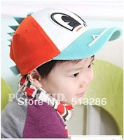 1pcs,2013 fashion cotton dragon children sports caps,  explodes the cartoon kids baseball caps, hats  multicolor Free shipping