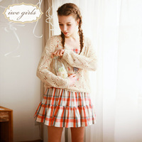Free shipping -  2013 spring candy color o-neck big cutout open neck knitted casual sweater